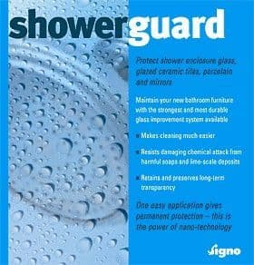 Showerguard  Protect Steam Showers & Shower Enclosure Glass, Glazed Ceramic Tiles & Mirrors
