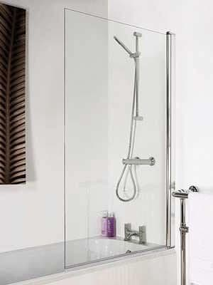 Toughened Glass Chrome Square Bath Shower Screen 1400mm x 770mm