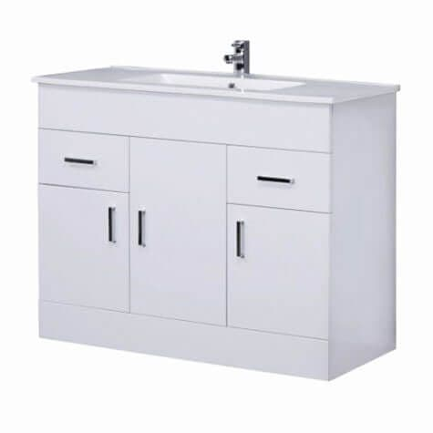 Turin Bathroom Vanity Unit 1000 mm High Gloss White With Basin Unit Minimalist