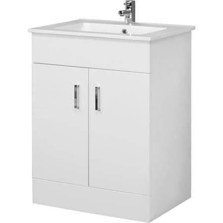 Turin Gloss White 600mm Bathroom Vanity Unit Furniture with Basin