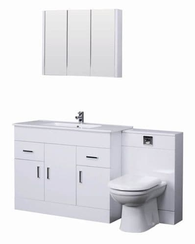 Turin Gloss White Cloakroom Suite 1000mm with Mirror Cabinet