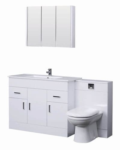 Combination Basin & WC Vanity Units: Turin Gloss White Cloakroom Suite 1000mm with Mirror Cabinet  from