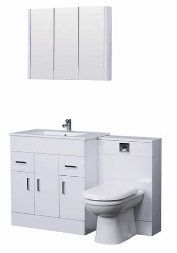 Turin Gloss White Cloakroom Suite 800mm with Mirror Cabinet