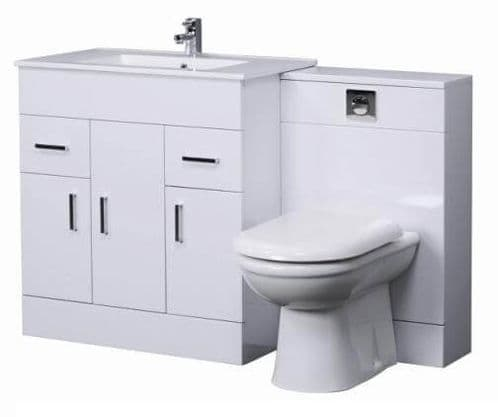 Turin Gloss White Cloakroom Vanity Suite 1300mm Unit with BTW  WC UNIT