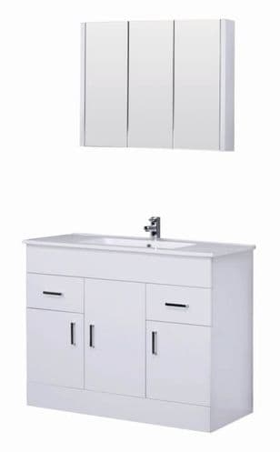 Turin Turin 1000mm Vanity Unit & Basin Modern White Gloss Bathroom Furniture Mirror Set