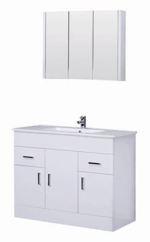 Turin Turin 1000mm Vanity Unit & Basin Modern White Gloss Bathroom Furniture Mirror Set