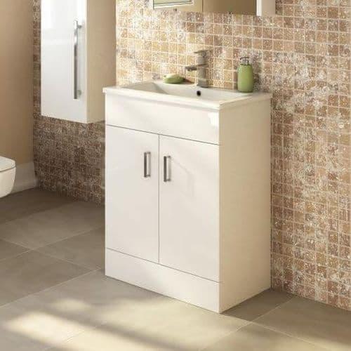 Turin Vanity Unit 600 mm High Gloss White With Basin Unit Minimalist
