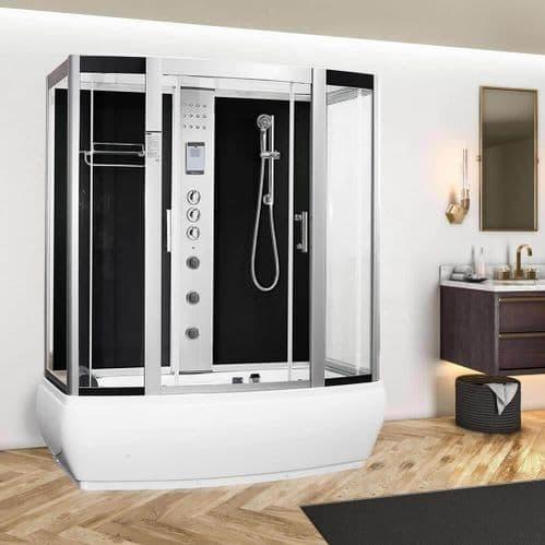 Vidalux Aegean Black 1700mm x 900mm Steam Shower Cabin and Whirlpool Bath