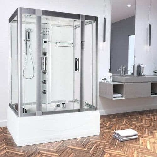 Vidalux Aegean White 1350mm x 800mm Steam Shower Cabin and Whirlpool Bath