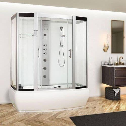 Vidalux Aegean White 1700mm x 900mm Steam Shower Cabin and Whirlpool Bath