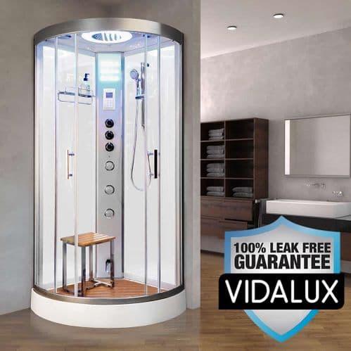 Vidalux Essence Steam Shower 900mm x 900mm White Quadrant Cubicle