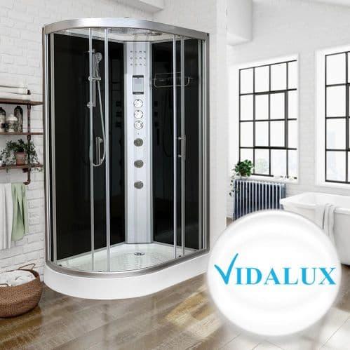 Vidalux Hydro Plus 1200mm x 800mm Black Glass Right Hand Offset Quadrant Hydro Shower Cubicle