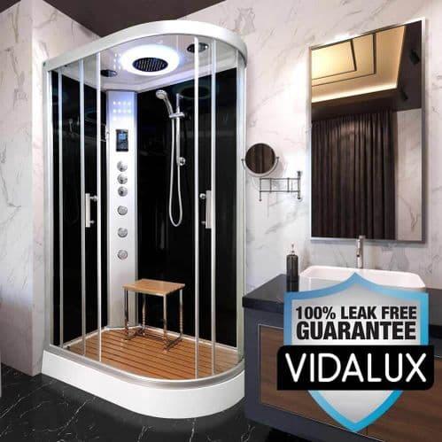 Vidalux Hydro Plus 1200mm x 800mm Black Left Offset Quadrant Hydro Shower Cubicle