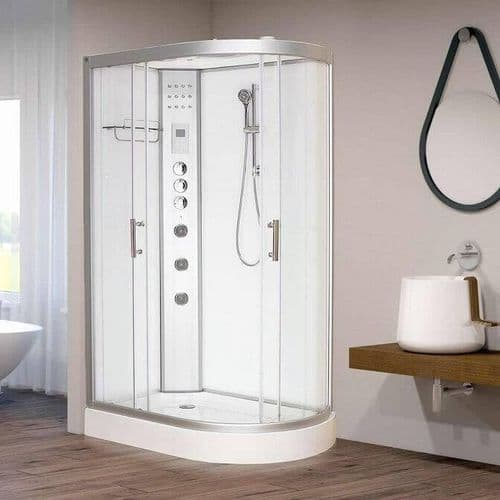 Vidalux Hydro Plus 1200mm x 800mm White Left Offset Quadrant Hydro Shower Cubicle