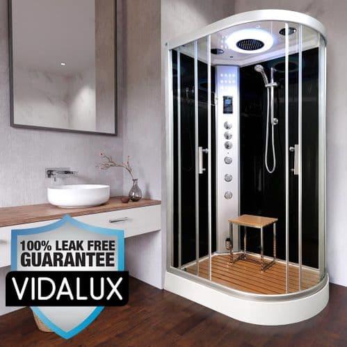 Vidalux Left Clearwater Steam Shower 1200mm x 800mm Black Offset Quadrant Cubicle