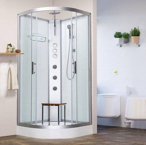 Vidalux Pure 1000mm x 1000mm White Quadrant Hydro Shower Cubicle Self-Contained Cabin