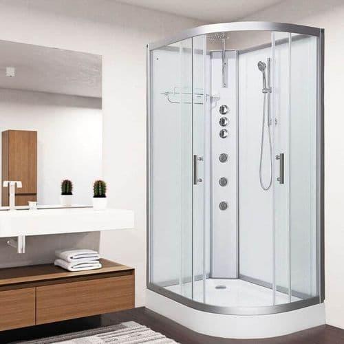 Vidalux Pure 1200mm x 800mm White Left Offset Quadrant Hydro Shower Cubicle