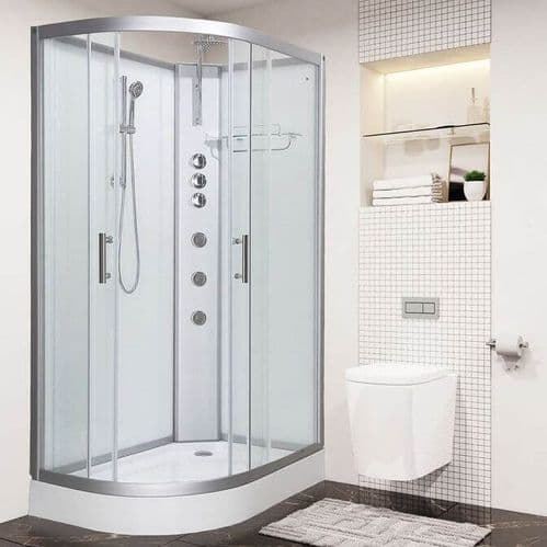 Vidalux Pure 1200mm x 800mm White Right Offset Quadrant Hydro Shower Cubicle