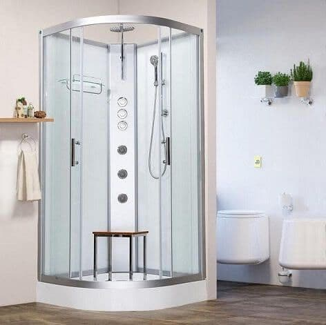 Vidalux Pure 900mm x 900mm White Quadrant Hydro Shower Cubicle Self-Contained Cabin