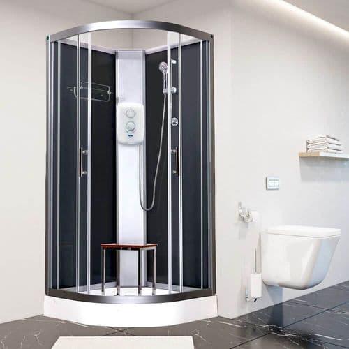 Vidalux Pure-E Black 1000mm x 1000mm Quadrant Shower Pod Cubicle Cabin With Electric Shower