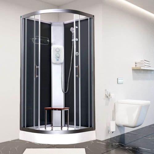 Vidalux Pure-E Black  900mm x 900mm Quadrant Shower Pod Cubicle Cabin With Electric Shower