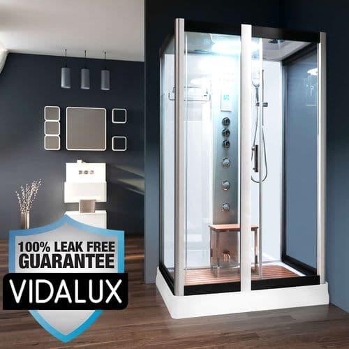Vidalux Serenity Steam Shower 1200mm x 900mm White Cubicle